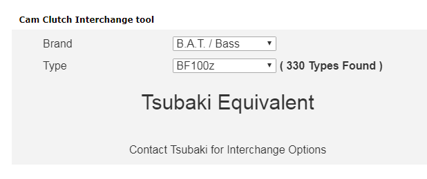 Cam clutch interchange tool on Tsubaki website screeshot